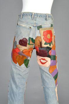 1960s Custom Patchwork Leather Wrangler Jeans   BUSTOWN MODERN