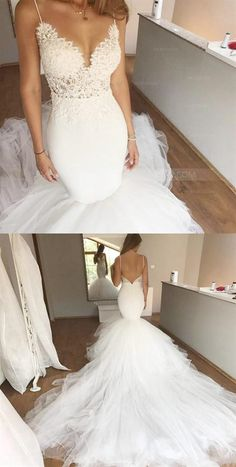 White Spaghetti Strap Sweetheart Open Back Tulle Wedding Dresses Bride Gowns - Beautiful Bridals - Spaghetti Strap Wedding Dress, Wedding Dresses With Straps, Junior Bridesmaid Dresses, Sexy Wedding Dresses, Wedding Dress Sleeves, Cheap Wedding Dress, Bridal Dresses, Wedding Gowns, Tulle Wedding
