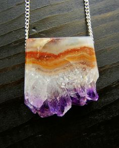 Amethyst slice necklace