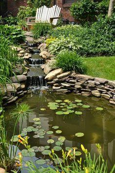 Wonderful Backyard Fish Pond Design Ideas to Garden Landscaping Your Home - Backyard Water Feature, Ponds Backyard, Backyard Waterfalls, Koi Ponds, Garden Ponds, Backyard Ideas, Pond Design, Garden Design, Fish Pond Gardens