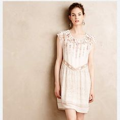 """Anthropologie Calliope Embroidered Swing Dress RETAIL. Brand: one september for Anthropologie. Color:Neutral Motif. Embroidered polyester; polyester lining Pullover styling Machine wash Imported Style No. 4130211061213 Dimensions Regular falls 36"""" from shoulder Anthropologie Dresses"""