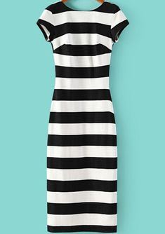 Black White Striped Short Sleeve Backless Dress -SheIn(Sheinside) Mobile Site