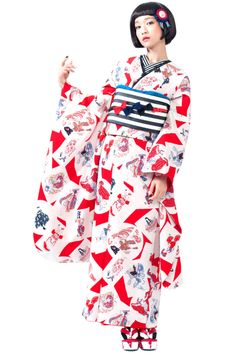 "Nippon-Graph. Takahashi Mai タカハシマイ modelling for Kimono hearts - Furisode ""Retro…"