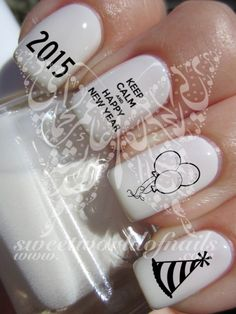 Keep Calm and Happy New Year 2015 New Years Eve Balloons Nail Art Water Decals Nail Transfers Wraps