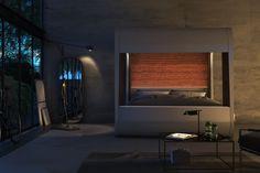 render, design, industrial, loft, night scene