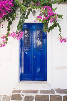 Blue Door in Parikia, Paros, Greece