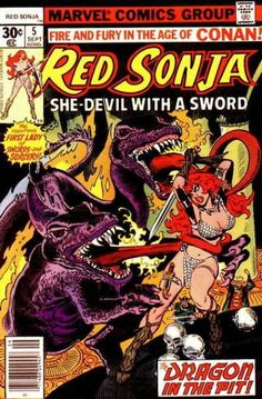 Cover for Red Sonja (Marvel, 1977 series) cent cover] Red Sonja, Conan Comics, Bd Comics, Caricature, Cyberpunk, Conan The Destroyer, Book Cover Page, Fantasy Comics, Fantasy Art