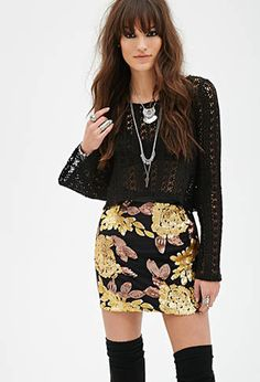 Sequin Faux Leather Skirt from Forever 21 $24,90