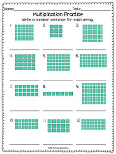Multiplication Array Worksheets by All About Elementary Array Worksheets, Math Worksheets, Math Resources, Math Activities, Multiplication Practice, Array Multiplication, Maths, Math Lesson Plans, Math Lessons