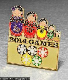 BADGE-PIN-OLYMPIC-2014-SOCHI-RUSSIA-MATRYOSHKA-BABUSHKA-NESTING-DOLLS-GOLD, 44$