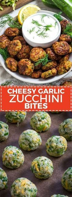 Garlic Zucchini Bites Cheesy Garlic Zucchini Bites These are easy to make super flavorful and baked so theyre much healthier than fritters Serve em as snacks appetizers o. Vegetable Dishes, Vegetable Recipes, Vegetarian Recipes, Cooking Recipes, Healthy Recipes, Cheap Recipes, Cooking Games, Vegetarian Tapas, Sauce Recipes