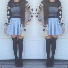 ♡ the long socks with skirts :)))