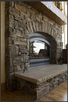 Chief Joseph Stone Fireplace Surround, Brown Sandstone Fireplace Surround from U… - Home Professional Decoration Rustic Fireplace Decor, Cabin Fireplace, Fireplace Doors, Farmhouse Fireplace, Fireplace Remodel, Fireplace Mantels, Fireplace Ideas, Mantel Ideas, Fireplace Makeovers