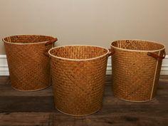Round Straw Storage Bin with Leather Handles