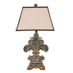 Close to the ones I bought for my living room.  Privilege Vintage Fleur-de-Lis Lamp In Vintage Gold