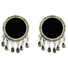 Black Color Big Round Ear Stud Earrings ($5) ❤ liked on Polyvore featuring jewelry, earrings, round earrings, stud earrings and round stud earrings