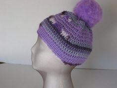Crochet Hat Purple with Fun Fuzzy Pom pom by melsumn1 on Etsy, $21.00