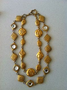 Vintage Chanel gold & crystal double necklace
