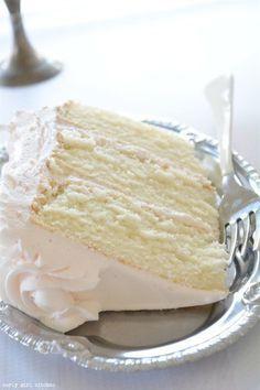 Curly Girl Kitchen: From. Curly Girl Kitchen: From-scratch recipe for light and fluffy White CakeThe Most Amazing White Cake. The Most Amazing White Cake is Cupcake Recipes, Baking Recipes, Cupcake Cakes, Dessert Recipes, Recipes With Cake Flour, Recipes For Cakes, White Cake Recipes, Moist Cake Recipes, Sour Milk Recipes
