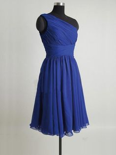 discount royal blue one shoulder bridesmaid dress with pleating | Cheap bridesmaid dresses Sale
