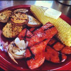 Sassy Chipotle BBQ Polska Keilbasa, Grilled Cajon Potatoes and Onions and Fresh Sweet Corn On The Cob