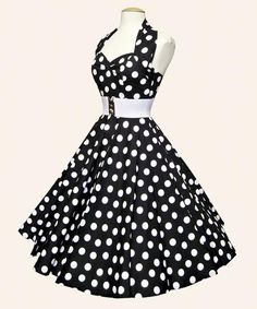 Black & White Polka Dot High Waist Dress with White Belt