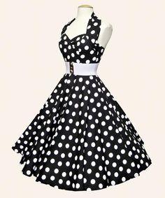'1950s Halterneck Polka Dot Dress Black' on Wish
