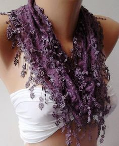 Love! Purple  Elegance  Shawl / Scarf with Lacy Edge by womann on Etsy, $16.00