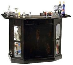 Not Available - Howard Miller Syracuse Modern Home Bar - 693003 Party Rock, Wooden Home Bar, Modern Home Bar Designs, Liquor Bar, Built In Bar, Home Bar Furniture, Wine Cabinets, Man Room, Bar Accessories