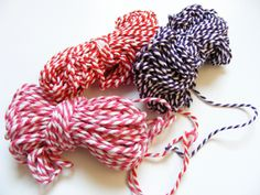 Set of pink, red and purple bakers twine