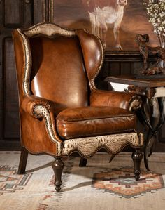 Leather Wingback Chair, Leather Furniture, Antique Furniture, Stylish Chairs, Wing Chair, Rustic Elegance, Chairs For Sale, Dream Decor, Living Room Chairs