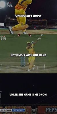 MS Dhoni hitting single handed six