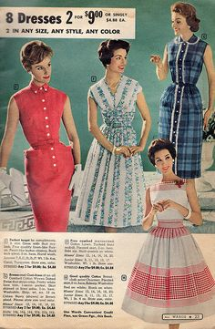 Love them all! #vintage #1950s #fashion #dresses