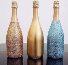 Cute DIY champagne bottles ! Glitter & Bubbles ! Super Cute ! [Lulu's IG]