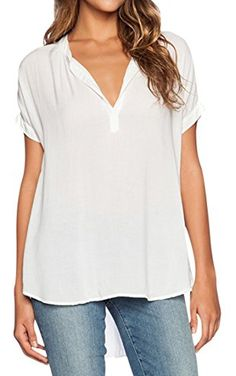 Pink Queen Women's Cute V Neck Short Sleeve Loose Chiffon Blouse Shirts White M ❤ ...