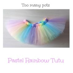 Made to Order -Soft Pastel Rainbow Super a pretty little tutu skirt for a sweet little flower girl. Full Tulle Tutu ~ Birthday, Princess, Ballet ~ Size 1 (size 0 and beyond) - Photography Prop
