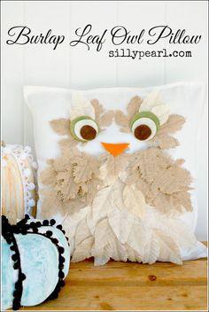 No-Sew Fall Burlap Leaf Owl Pillow