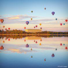 Balloons over Canberra, Australia.                                                                                                                                                                                 More
