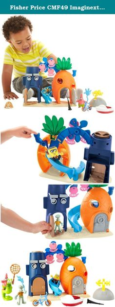 "Fisher Price CMF49 Imaginext Sponge Bob Deluxe Bikini Bottom Toy. Kids can take a boat (or a Seahorse) ride, hunt for jellyfish and launch them, bother squidward, you name it! when they imagine they're hanging out with SpongeBob and friends, it's bound to be the ""best day ever""! pull down smokestack on spongebob's house to send him out of bed and down the slide! open & close squidward's door to see him ""playing"" clarinet, or turn the power pad on his roof to see his house make silly..."