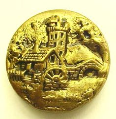 ButtonArtMuseum.com - Lovely Vintage Picture Button with A Beautiful Scene in Stamped Tinted Brass