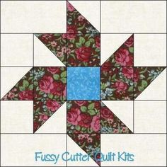 Scrappy Fabric Pinwheel Flowers Floral Easy Pre-Cut Quilt Blocks Top Kit - possible 16 patch variation Half Square Triangle Quilts, Square Quilt, Quilting Projects, Quilting Designs, Pattern Blocks, Quilt Patterns, Quilt Block Patterns 12 Inch, Pinwheel Quilt, Star Quilt Blocks