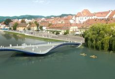 The bridge envisioned across the river Drava in the Slovenian city of Maribor combines unmatchable aesthetics with functionality in public infrastructure. The concept is both simple and dynamic. The bridge gently bends to create a water slide while skimming the water surface. The tiered water side space provides safe transit across the river for both cyclists and pedestrians. It promises to be a great waterside recreational space.