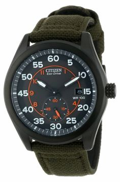 Citizen Men's BV1085-22H Eco-Drive Green Nylon Strap Watch: Watches: Amazon.com