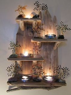 Interesting Unique Driftwood Shelves Solid Rustic Shabby Chic Nautical Artwork