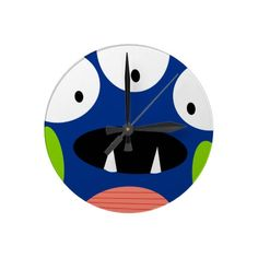 funny silly cartoon monster smile face round wallclock