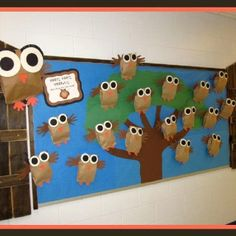 """End of the year bulletin board, """"Hoot Hoot, Hurray, we're going to 8th grade!"""
