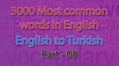 English to Turkish | 351-400 Most Common Words in English | Words Starti...