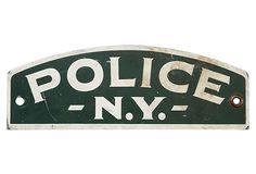 Vintage NY Police Sign on OneKingsLane.com