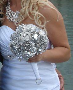 Silver Wedding bouquet.brooch by cristinacrystal on Etsy