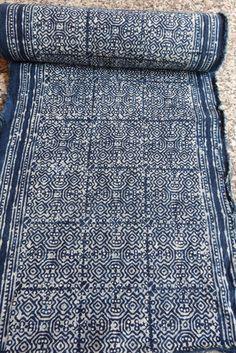 Handwoven cotton Vintage fabrics Indigo Blue Hmong by dellshop